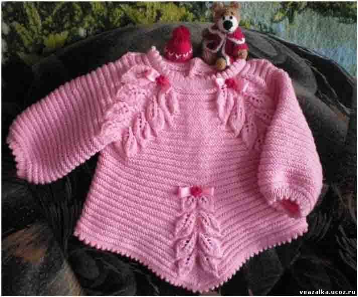 Вязание спицами кофты реглан для малышки от 0-3 месяцев 32
